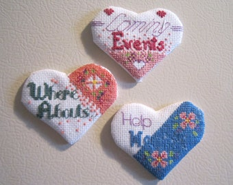 Set of 3 Heart shaped Refrigerator Magnets