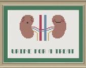 Urine for a treat: nerdy kidney cross-stitch pattern