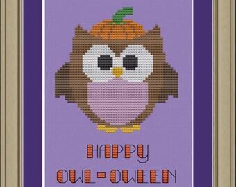 Happy owl-oween: cute owl halloween cross-stitch pattern