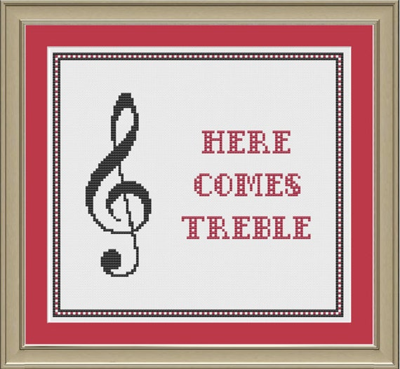 Here Comes Treble Nerdy Music Cross-stitch Pattern