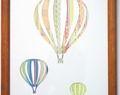 Up Up and Away- Hot Air Balloons Reverse Silhouette with a Colourful Striped Pattern . In a 10x8 Wooden Frame.