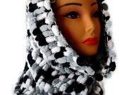 Knit Soft Scarf Cowl Neckwarmer Tube Scarf Neck Warmer - Variegated gray white black