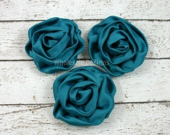 Turquoise Satin Rolled Rosette Flowers - Set of 3
