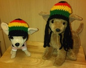 Slouchy rasta peak cap  dog hat with or without dred locks - for small breed chihuahua / yorkie  great fancy dress costume