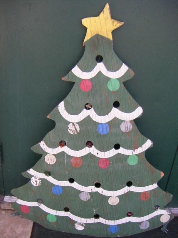 Holiday Christmas Tree Yard Art Wood Xmas Handmade Decoration