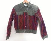 90s vintage women suede South western pattern jacket, has shoulder pads