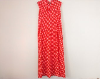 70s vintage polyester red and white polka dot maxi dress large