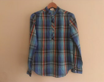 80s vintage women's large plaid shirt