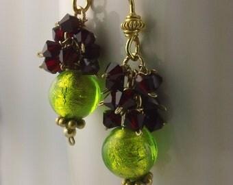 Red and Green Venetian Earrings
