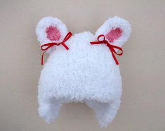 Crocheted Rabbit Hat-Bunny Hat-Cute rabbit hat-White Bunny Rabbit Hat