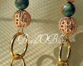 Jasper and Gold plated filigree bead earrings