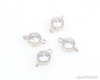 Mini Cubic Connector-Brass, 4pcs Mini Cubic Zirconia Connector, Earrings Necklace Jewelry Connector / 6 x 10.5mm / CRH003-C
