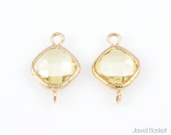 2pcs - Jonquil Color and Gold Framed Glass Diamond Connector / 16k gold plated / jonquil / yellow / connector / glass / 9 x 15mm / SJQG024-C