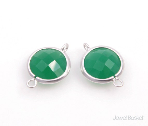 Green Color and Matted Silver Framed Round Connector - 2pcs Green Color Gemstone Connector, Necklace and Earrings Connector / SGRMS002-C
