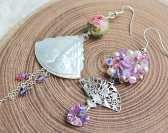 Oriental Mystique Mismatched Earrings - romantic jewelry - carved mother of pearl shell fan, lavender carved rose, & Japanese tensha bead