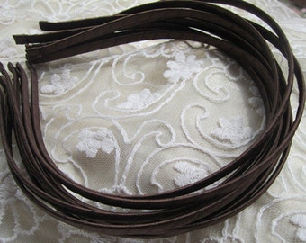 20pcs Chocolate brown  Satin Covered Headband  5mm Wide with  bent end