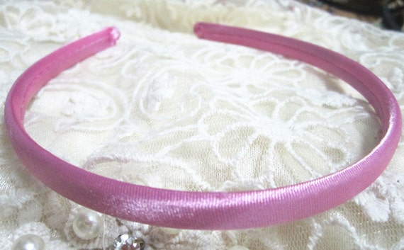 20pcs pink  plastic Headband With Cloth Covered 9mm Wide