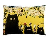 Three Black Cats Custom Pillow Case