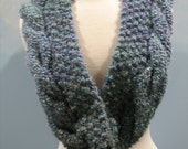 Big Lou Handknit Cable Twist and Alternating Knot Pattern Scarf in a Color called Windsor Blues