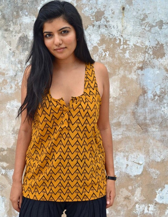 The Maelu Tank in GeoStache - Hand Block Printed, Natural Vegetable Dyes