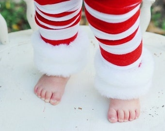 Red and White Striped Christmas Leg Warmers with Your Choice of Faux Fur Trim, Ruffle Trim or Plain