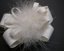 Princess Over the Top Hair Bow Antique Winter OFF White Marabou Girl Boutique Toddler Christmas Holiday Wedding School Casual Pageant Wear