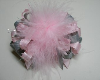 DIVA Princess Hair Bow Pink Marabou Gray Polka Dot Boutique Toddler Girl Pageant Birthday Party