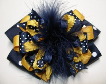 Big WVU Navy and Yellow Gold Hair Bow Over the Top Marabou Polka Dot Navy Large Boutique Toddler Girl