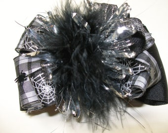 Steampunk Halloween Hair Bow Spider Over the Top Princess Marabou Boutique