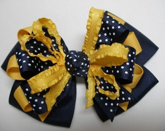 Big Hair Bow Dark Navy Polka Dot Navy WVU Yellow Gold  Back to School Uniform Large Boutique Toddler Girl