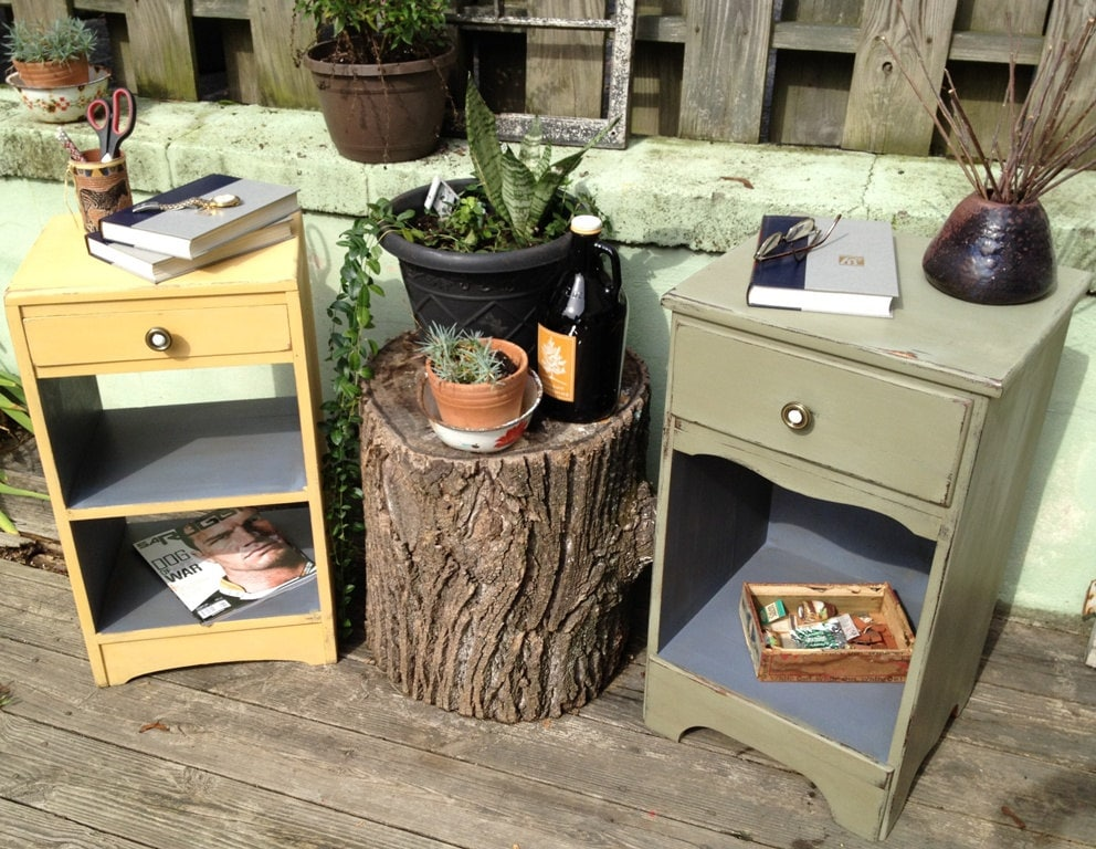 Small Chalk Painted Night Stands Set Of Two