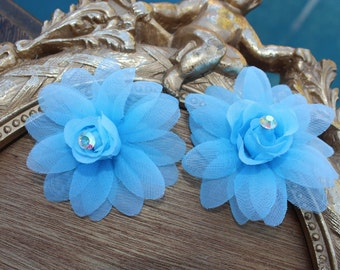 Very  cute organza   flower clip  blue  color  2 pieces listing