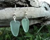 Beach Glass Earrings -- Sterling Silver -- Sea Foam Green