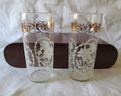 Vintage Mid Century Federal Glasses Gold White