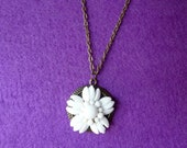 Vintage White Flower  Milk Glass Necklace - Antique Bronze