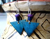 Upcycled Geometric Turquoise Dangle Earrings, Blue-Green, Navy Blue, and Purple