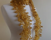 hand crochet scarf mustard yellow mothers day valentines day gift for her christmas in july sale