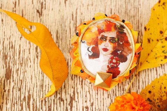 Autumn brooch Red headed girl original fine art print, fabric brooch, extravagant textile jewelry