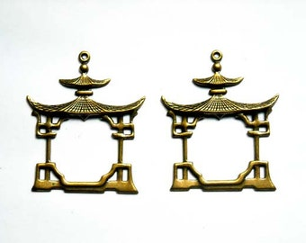 2 Antiqued Brass Pagoda Charms - 21-33-2