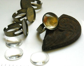 Antiqued Bronze Ring Settings With Matching Cabochons - 27-8-2