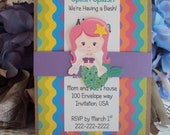 Under the Sea Birthday Invitations , Mermaid Birthday Invitation, Childrens Birthday Invitations