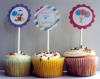 Candy  Cupcake Toppers, Sweet Shoppe Cupcake Toppers