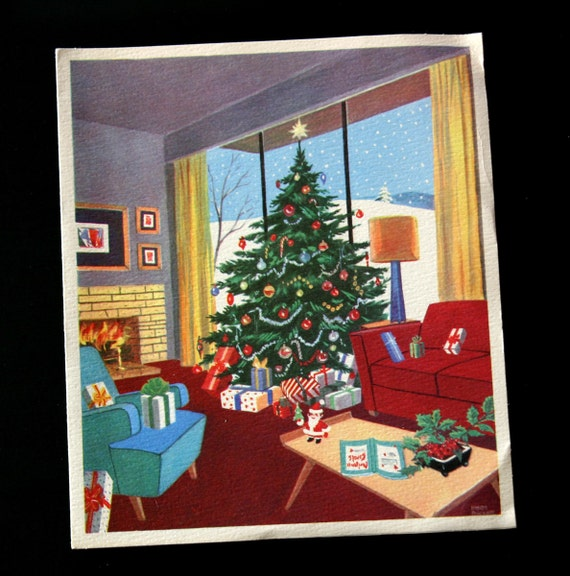 Holiday Card Mid Century Modern Couch And Christmas Tree