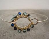 Sterling silver jewelry handmade/hammered silver bracelet/delicate bracelet/wire wrapped bracelet/Czech glass bracelet