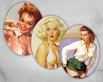 Pinup Girls - 30x40mm Ovals - Digital Collage Sheet - Best for jewelry pendants - PINUP NR2