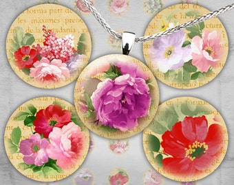 1 inch Digital Circles - Digital Collage Sheet - Printable Downloads - Best for jewelry pendants, bottle caps - SHABBY ROSES