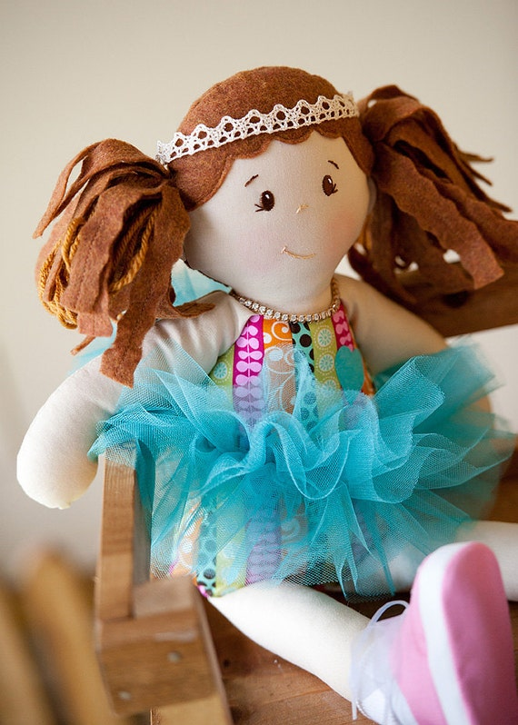 ACORN AVERY, Girl Cloth Doll with doll Tutu, Waldorf and Vintage Inspired, Modern Rag Doll, Toy