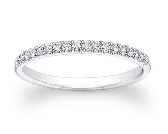 Ladies 18kt white gold diamond wedding band 0.20 ctw G-VS2 diamonds