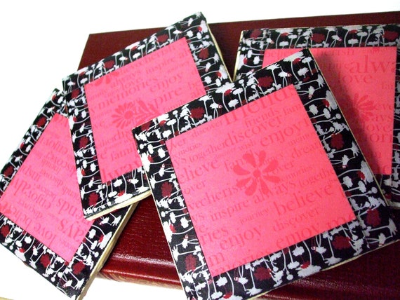 "Modern Ceramic Tile Coasters Red Black And White Flowers - 4 Tile Set - ""Inspire, Friends, Family, Believe, Inspire, Journey, Always"""