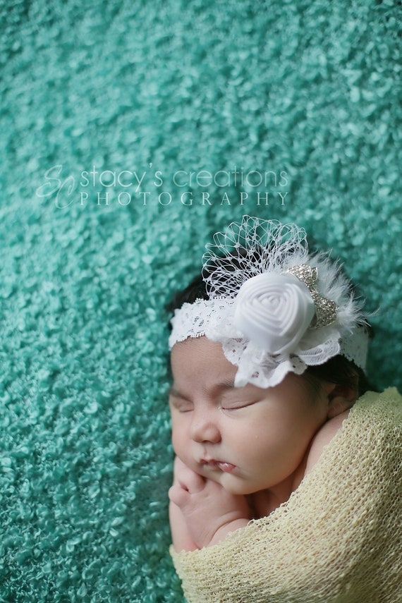 Baby Fascinator White Baptism